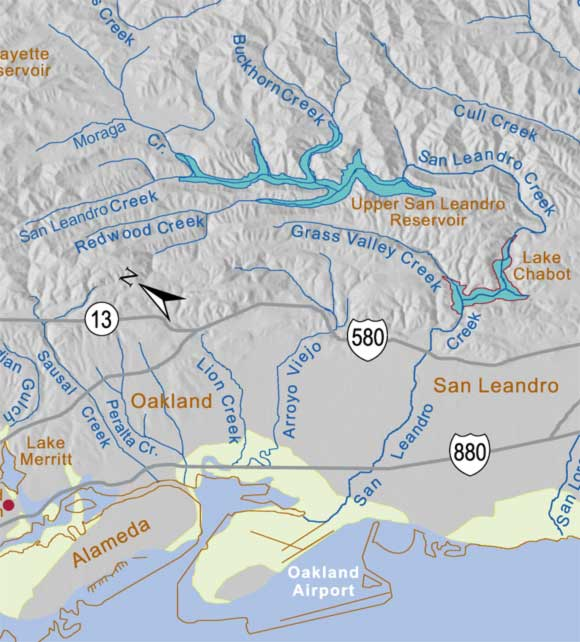 San Leandro Area Historical Creek Map on downey map, burlingame map, santee map, marin city map, la costa valley map, bakersfield map, pico rivera map, ukiah map, san lorenzo map, pleasanton map, mission san jose map, san pablo map, big sur map, benicia map, north county san diego map, south bay cities map, milpitas map, gardena map, south san diego map, whittier map,